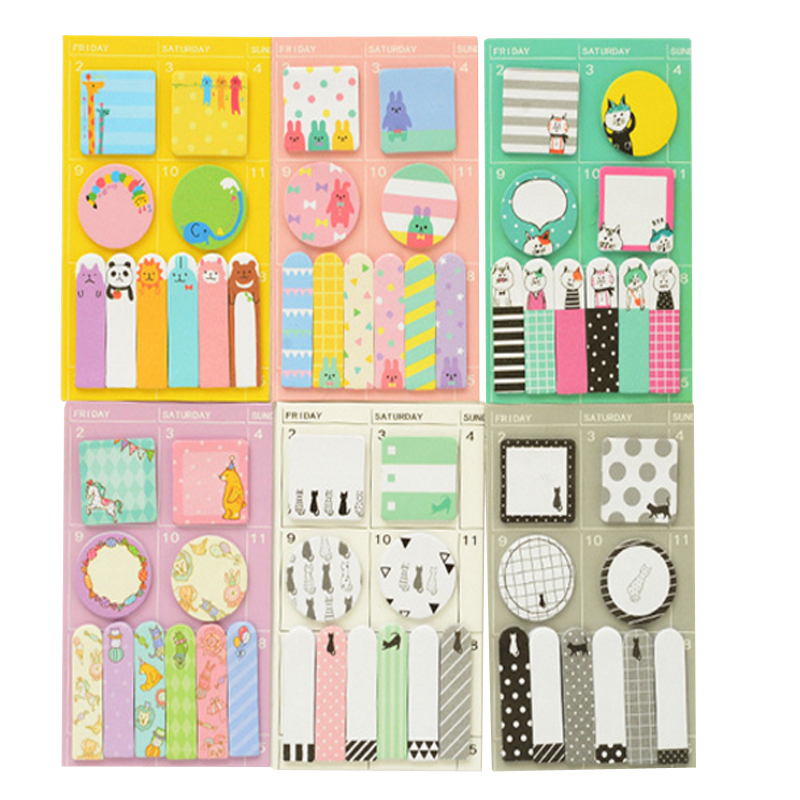 1pack /lot Kawaii Cartoon Stickers Week Plan Sticker Notes Animal Memo Pad Notepad N Times Planner Sticky School Stationery
