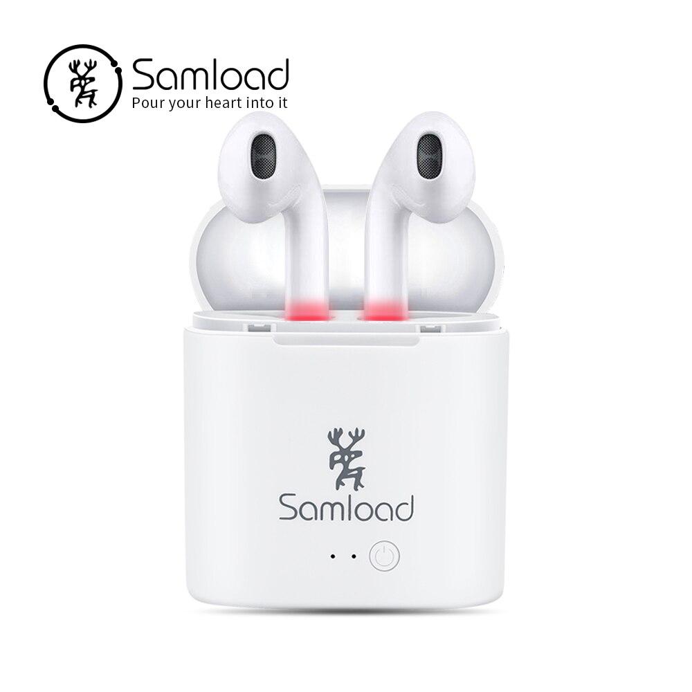 Samload TWS auricular Bluetooth Auriculares auriculares I7 aire True vainas auriculares para Apple iPhone 6 7 8 Xiaomi carga caja