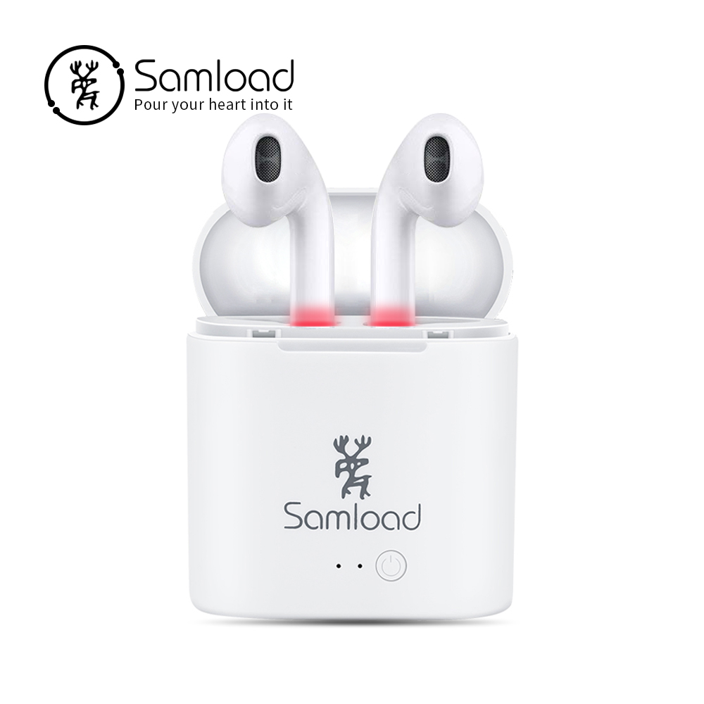 Samload TWS Bluetooth Headset Earphones Headphones I7 Air True Wireless Pods Earbuds For Apple iPhone 6 7 8 Xiaomi Charging BoX цена 2017