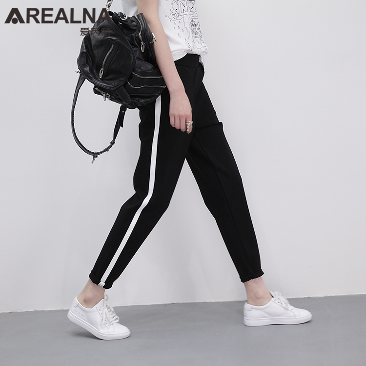 2017 fashion high waist loose harem striped pants women classic joggers trousers black. Black Bedroom Furniture Sets. Home Design Ideas