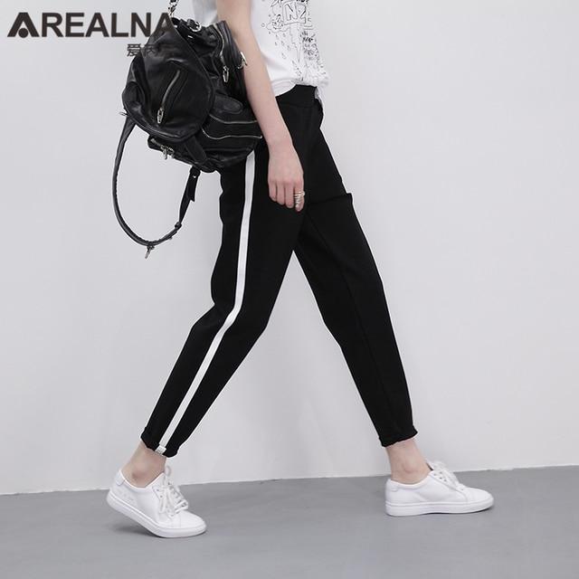 Top 2017 Mode Taille Haute Lâche Harem Pantalon Rayé Femmes Classique  SB69