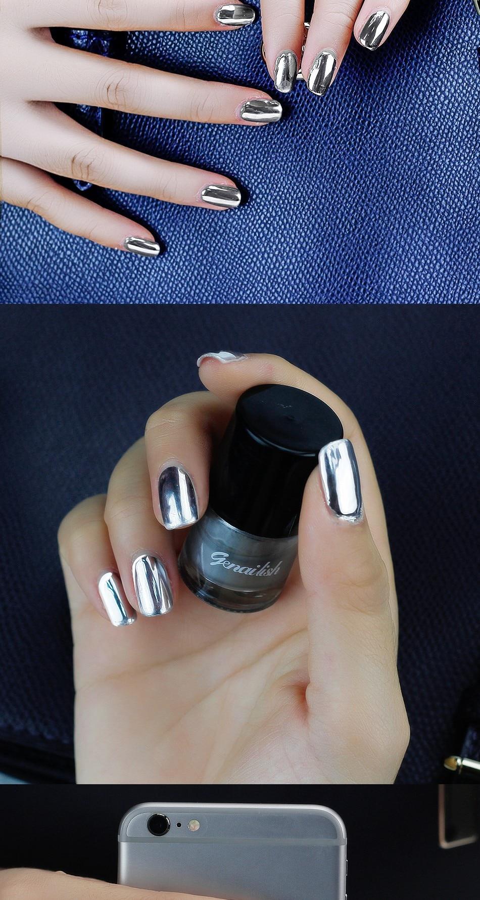 Genailish 2 pc/lot 6 ml Metálico Efecto Espejo De Plata esmalte de ...