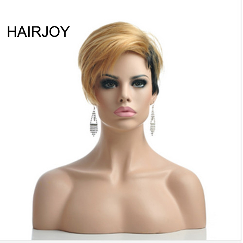 HAIRJOY Capless Synthetic Women Blonde Black 2 Tones Double Color Short Straight Hair Wig Daily