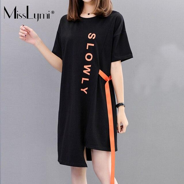 MissLymi M-4XL Plus Size Women T Shirt Dress 2018 Summer Harajuku Gothic  Style Loose Letter Printed Short Sleeve Irregular Dress 2054accf4926