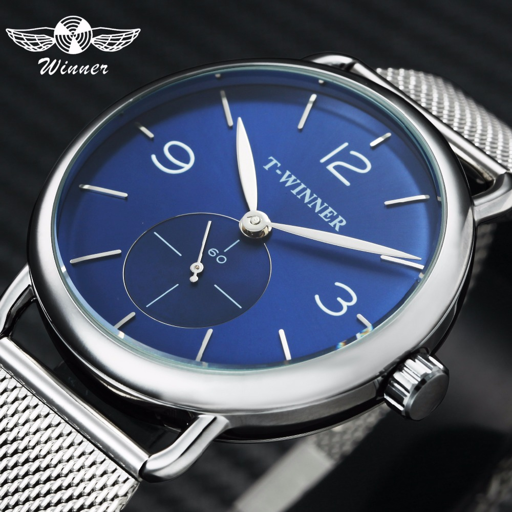 WINNER Fashion Ultra Thin Mechanical Watch Men Mesh Strap Marine Dial Top Brand Luxury Business Wrist