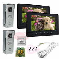 2v1 Color Video DoorPhone Intercom Two 700lines HD Outdoor Units One 7 Lcd Free Shipping