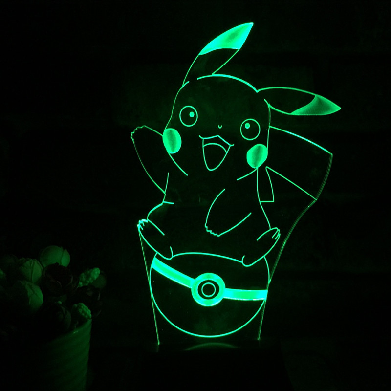 Anime Pikachu figurine 3D LED Lamp Light USB Colorful toy for Wedding Deco Innovative bi ...