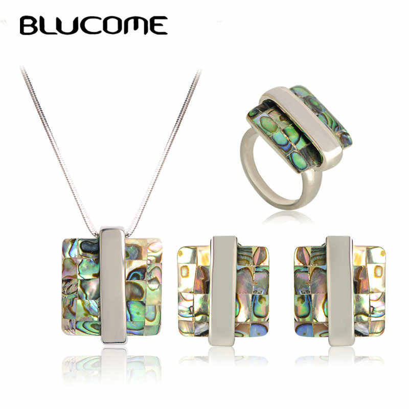 Blucome Fashion Abalone Shell Necklace Earrings Rings Jewelry Sets Square Pendant French Hooks Earrings Women Party Decorations