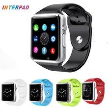 Interpad alta calidad android smart watch a1 bluetooth reloj con podómetro sincronización sms ayuda cámara tf tarjeta sim smartwatch