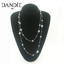 Dandie Fashion Long Chain Glass Bead And Transparent Acrylic Jewelry Necklace