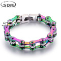 Fashion Unique Raibow Color Stainless Steel Bracelet Motorcycle Biker Chain for Women&Girl Jewelry multiple size wholsaleYM135