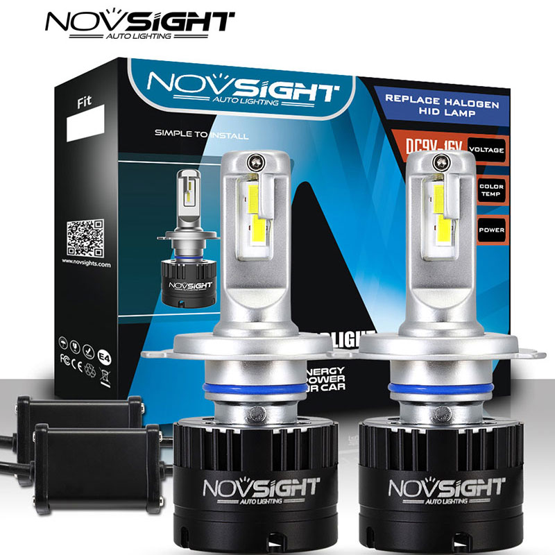 NOVSIGHT Headlights H4 Led 80w 14400lm Pair Car Lamps 5500k Light Hi lo Beam Dc 9v-16v 2 Pcs Auto Bulb Headlamp 2 Years Warranty 1 pair dc 9 36v h4 cob 80w led car headlight kit hi lo beam bulbs 6000k