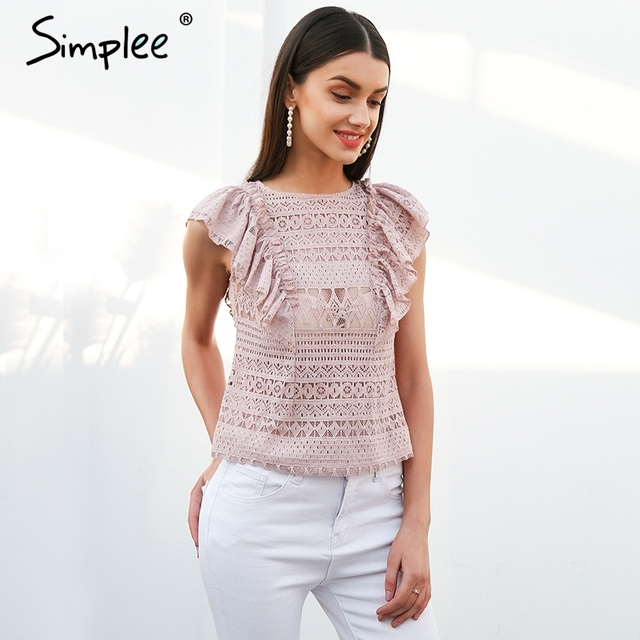 Simplee Sexy sleeveless ruffle lace blouse women O neck transparent white blouse shirt 2018 Elegant summer blusa feminian top