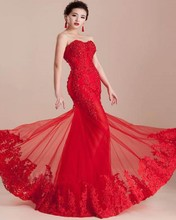 Sexy 2015 Red Mermaid Wedding Dress Sweetheart Lace up Applique Beaded Vestido De Noiva Floor-Length Tulle China Bridal Dresses