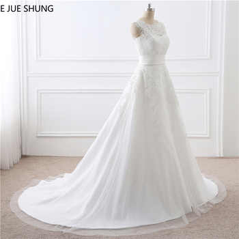 E JUE SHUNG Vintage Lace Appliques Detachable Skirt Wedding Dresses Two Pieces Wedding Gowns One in Two Dresses robe de soiree - DISCOUNT ITEM  30% OFF All Category