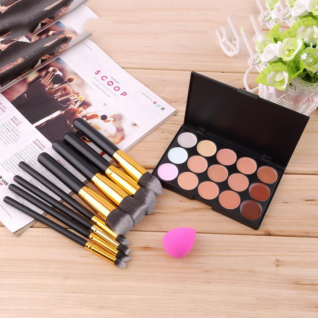15 Color Concealer Palette + 8pcs Make Up Brushes Kit +  Sponge Puff  Makeup Contour Palette Paleta De Corretivo Facial 15 color concealer platte 24pcs pro makeup cosmetic brushes sponge puff make up set 2017 new sale