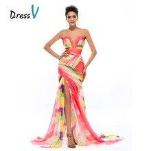 dressv color imprimer sirne longue robe de soire 2016 de mousseline de soie a ruch sexy fendue sur le devant formelle robes de soire de bal robes - Robe Longue Colore