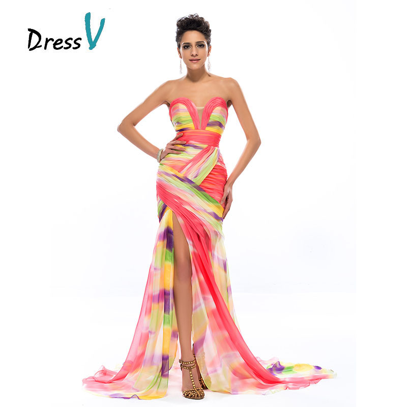 DressV Colorful Print Mermaid Long Evening Dress 2019 Chiffon Sweetheart Ruched Sexy Split Front Formal Dresses