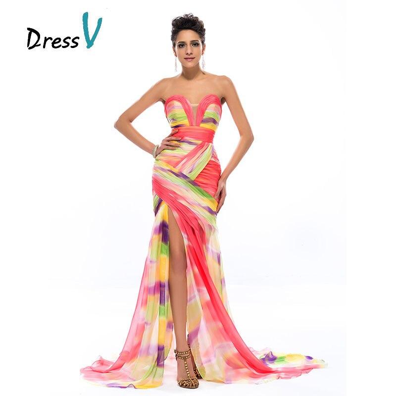 Robe de soirée longue sirène imprimé coloré 2017 mousseline de soie chérie froncé Sexy fente avant robes formelles robes de bal de fête