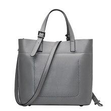 QIANGSHILI Brand Simple Casual Genuine Cow Cowhide Leather Soild Tote Bags Luxury Handbags Women Bags Designer High Quality