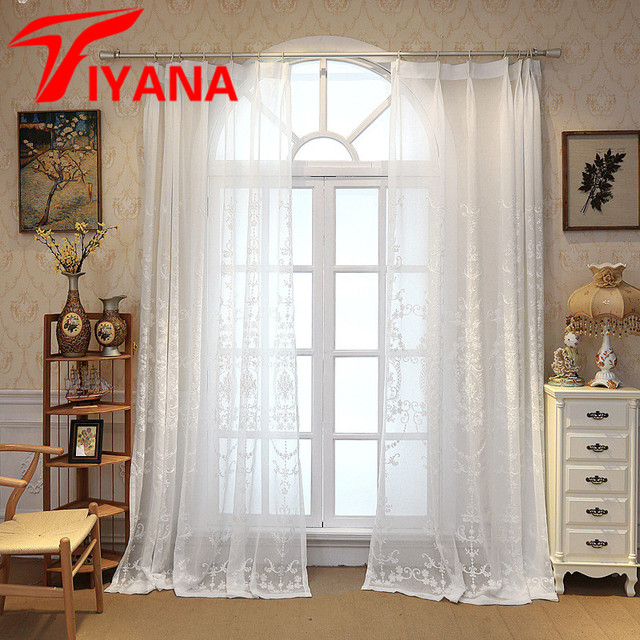 Kitchen Drapes Hanging Rack Us 9 05 42 Off Europe Luxury Sheer Curtains For Living Room Embroidered Geometric Window White Yarn P014z40 In