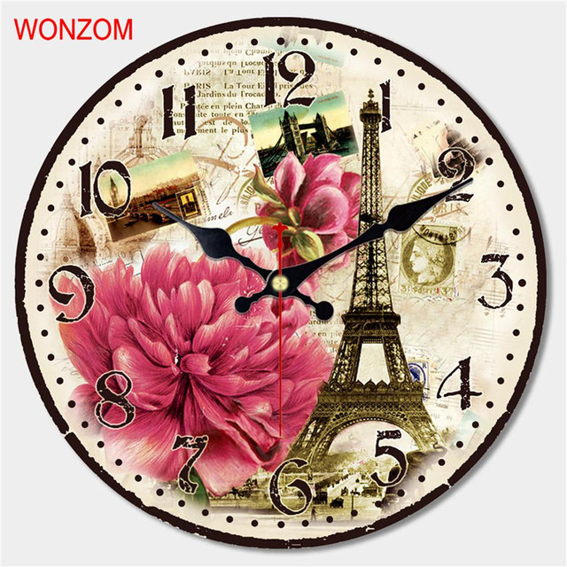 WONZOM Blooming Flower Design Large Rose Wall Clock Silent Living Room Wall Decor Saat Home Decor Watch Wall 2017 Reloj De Pared