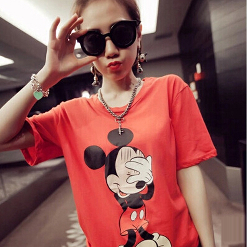 Spring Summer Girls Tops And Tees Fashion Cartoon Print T-shirt Women Short Sleeve O-Neck Camisetas Feminina Casual Tshirt Femme