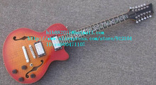 free shipping new 12 strings hollow electric guitar in orange with mahogany body for jazz music made in China LL15