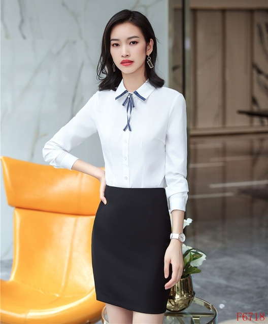 1d2fc034974 Two Piece Women Suits with 2 Piece Skirt and Top Sets White Blouses & Shirts  Ladies Work Wear Office Uniform Styles