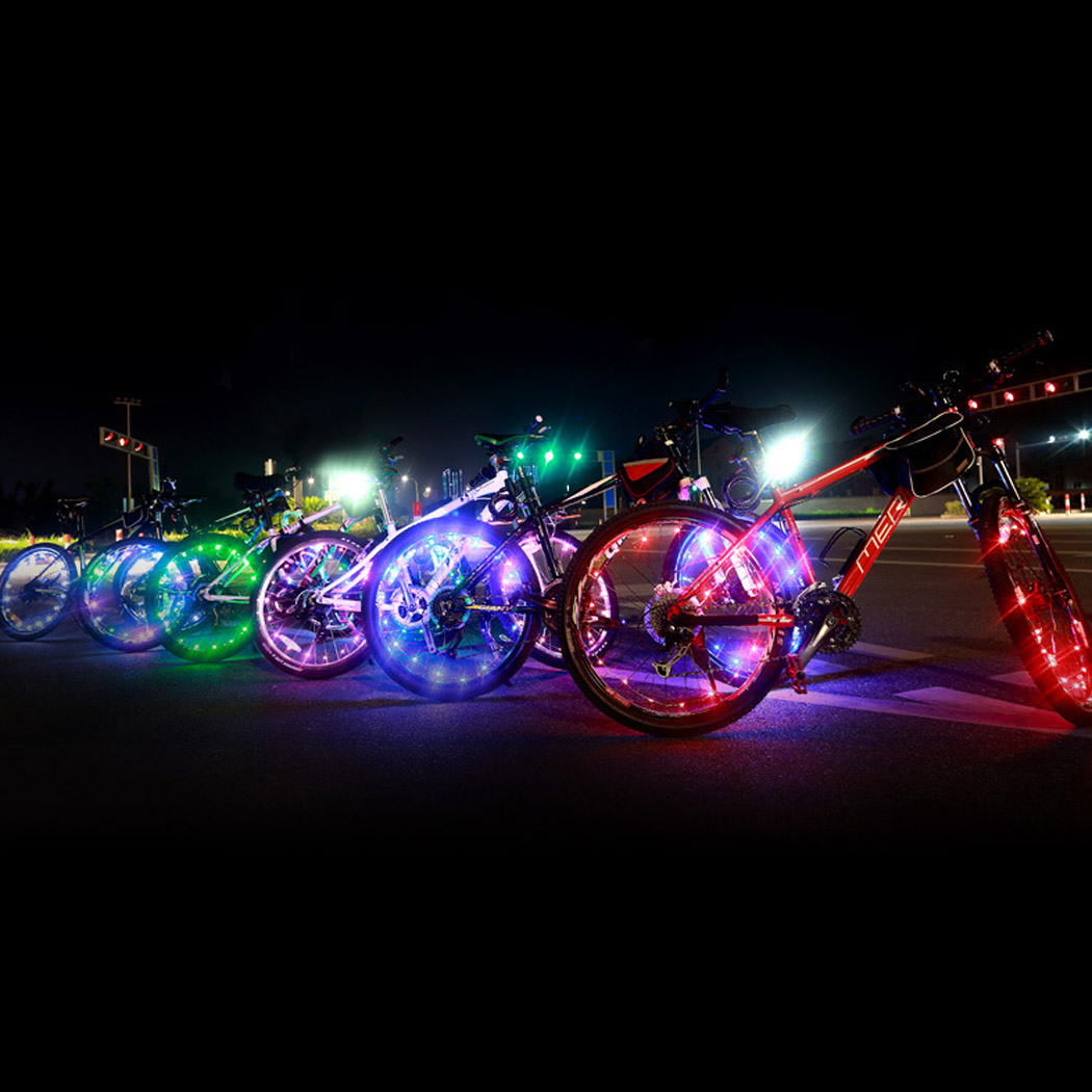 Bicycle Bike Wheel Tire Wire Rope Lights 20 LED Lamp Waterproof ...
