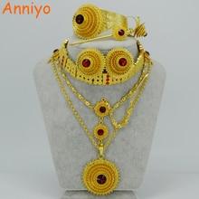 Anniyo Ethiopian เครื่องประดับชุดสร้อยคอ/สร้อยคอ Chokers/หน้าผาก/ต่างหู/กำไลข้อมือ/Hairpin/แหวน Habesha งานแต่งงานของขวัญ #028706