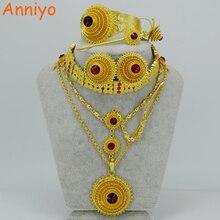 Anniyo etíope conjuntos de jóias colar/gargantilhas colar/corrente testa/brincos/pulseira/hairpin/anel habesha presente de casamento #028706