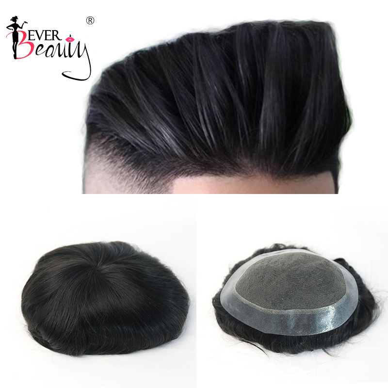 Mens Toupee 100% Natural Straight Indian Remy Hair Lace And PU Men's Toupee Replacement System Top Hair Piece Ever Beauty