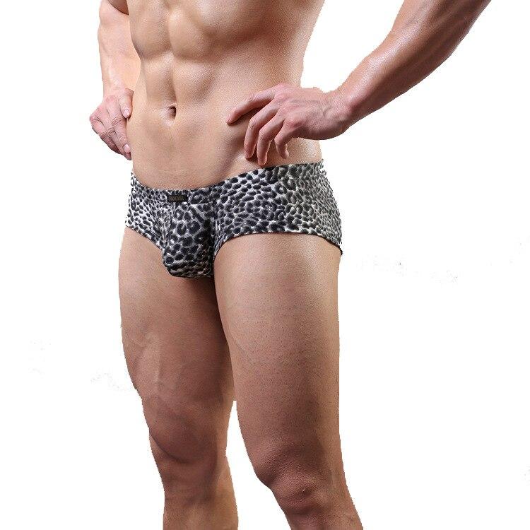 Gay Underwear Low-Waist Boxers-Shorts Calzoncillos Convex-Pouch Leopard-Printed Man U