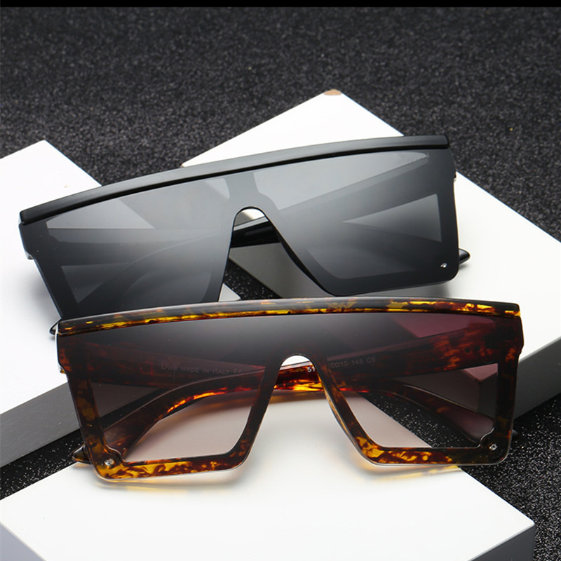 Oversize Square Frame Flat Top Top New Fashion Sunglasses Women Men Retro Sun Glasses Gafas Oculos De Sol