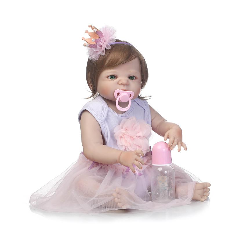 New 23Full Silicone Bebe Reborn Baby Girl Princess Dolls Lifelike Alive Doll With Pink Dress for Child Bath Shower Bedtime Toy 55cm full silicone bebe reborn baby girl princess dolls lifelike alive doll with pink dress for child bath shower bedtime toy