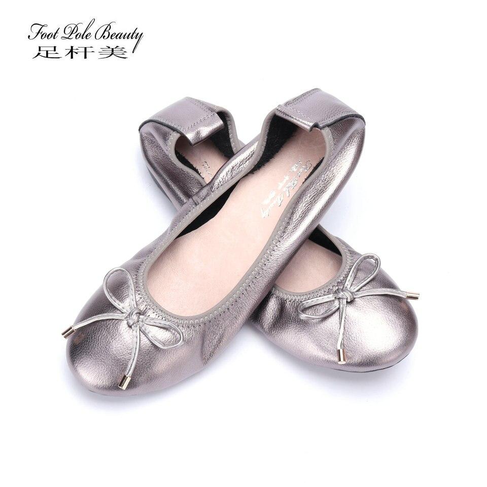 b9bce5a74b2d Plus Size Fashion Women Shoes Genuine leather Ballerina Ballet Flats  Foldable Shoes Portable Travel Flats Rollable
