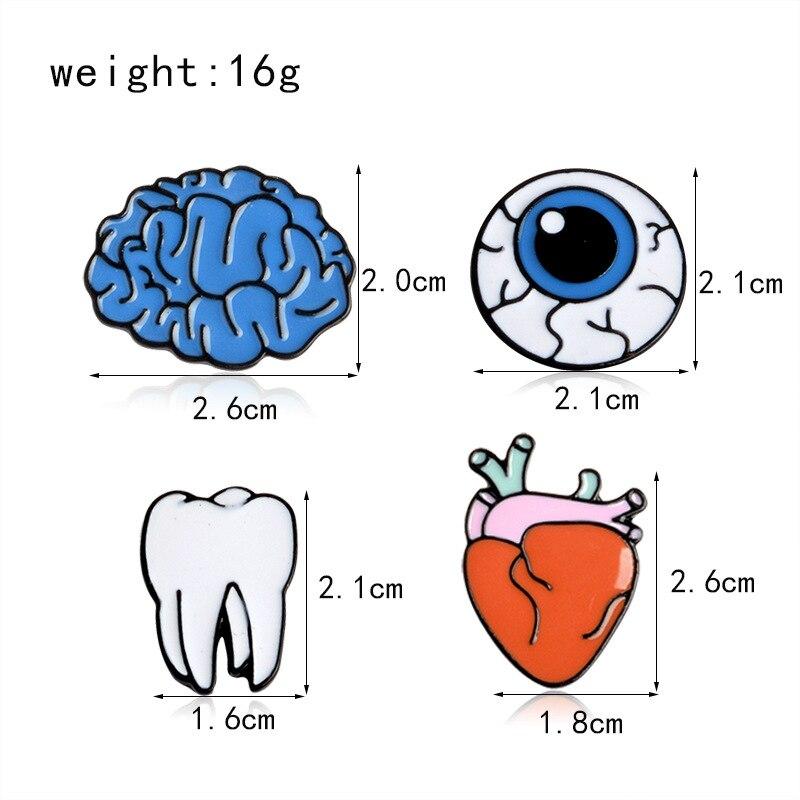 Fashion Punk human organs brain eye teeth Brooches For Women Jewelry Summer Style Piercing Punk Brooch Pins