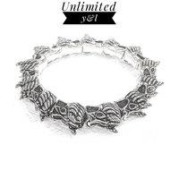 Animal Dragon Strand Bracelets Black Cubic Zirconia Karma Beads Bracelets for Men and Women Silver Fashion Jewelry Gift