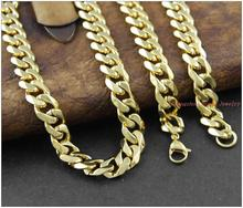 8-40″ 8mm Charming Jewelry 316L Stainless Steel  Gold color  Cuban Curb Chain Mens Womens Necklace&Bracelet Christmas Gift
