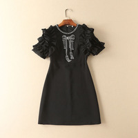 2017 Newest Fashion High Quality Spring And Summer O Neck Solid Black Diamond Short Petal Sleeve