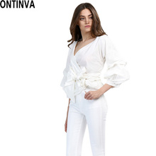 2017 Summer Puff Sleeve White Blouse with Belt Women Sexy V Neck Woman Shirt Elegant Plaid Tops Formal Clothing for Office lady