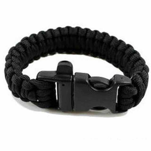 Sunyik Black 550 Cord Parachute Emergency Military Survival Bracelet Whistle Wristband