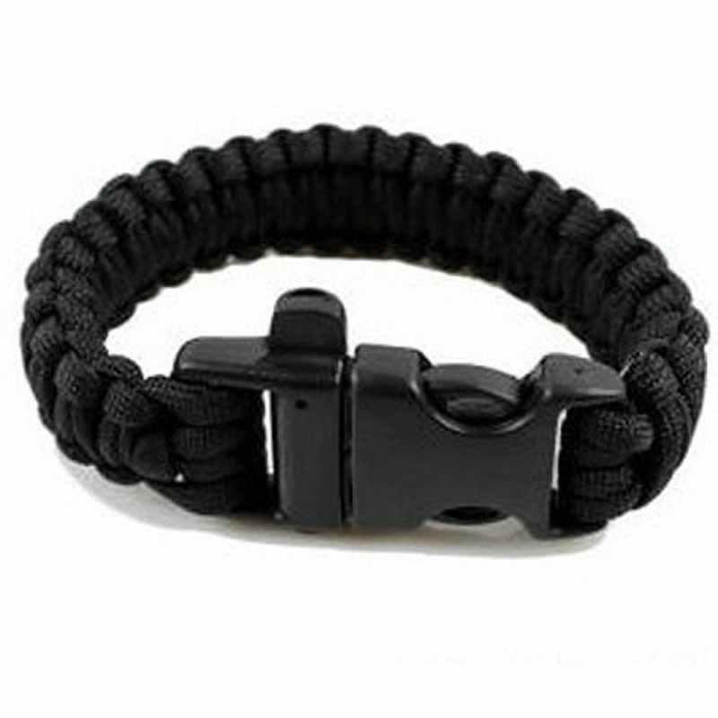 SUNYIK Black 550 Cord Parachute Cord Emergency Military Survival Bracelet Whistle Wristband