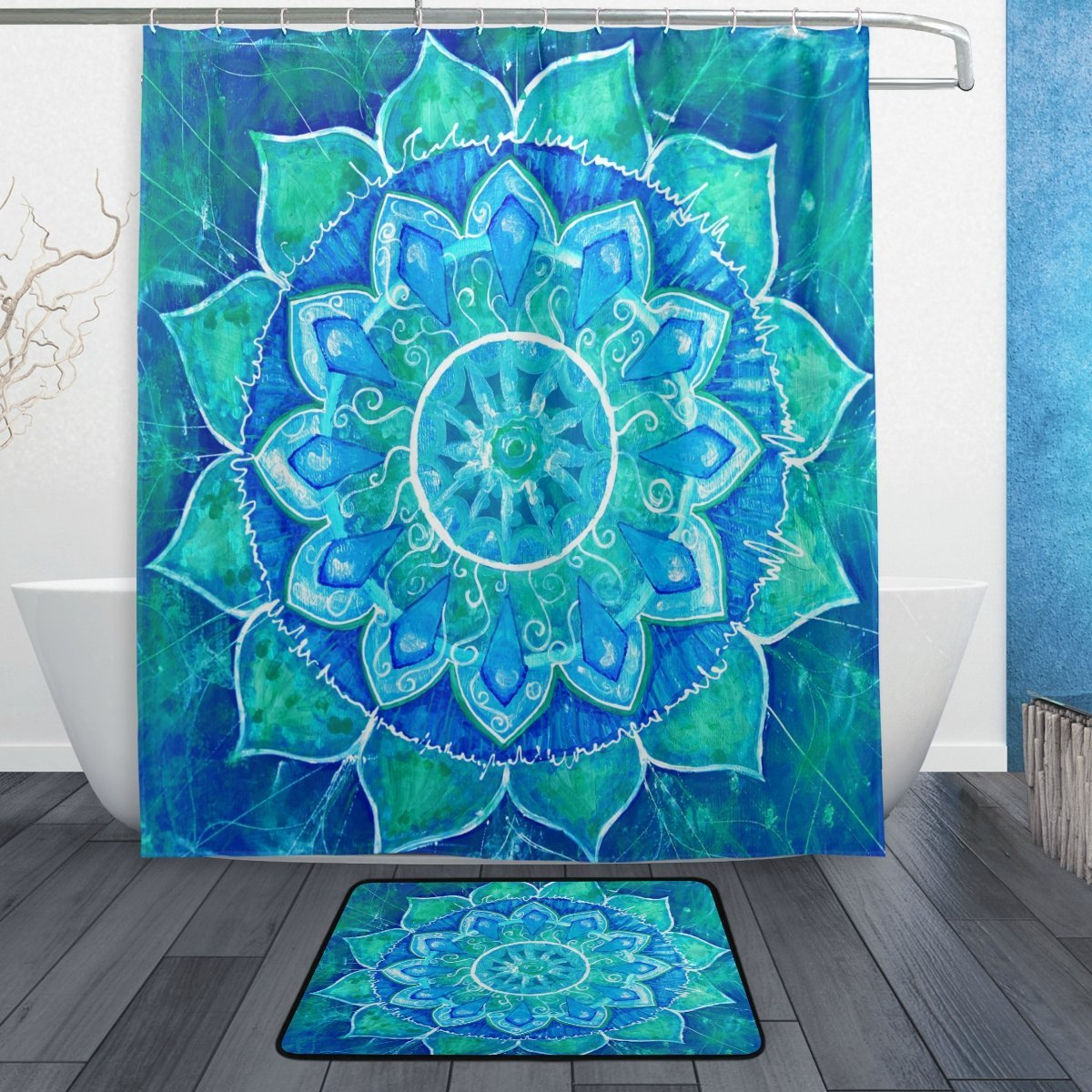 Indian Mandala Shower Curtain and Mat Set, Floral Lotus Abstract Art ...
