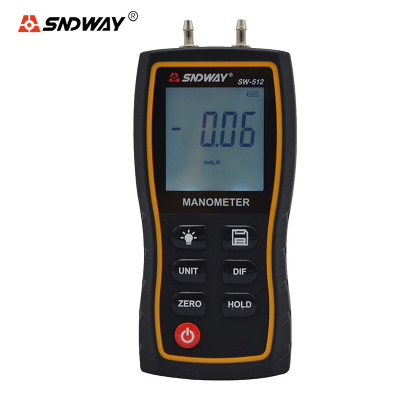 SNDWAY Pressure Gauge 11 Unit Portable Digital Differential Manometer Vacuum Gauge SW-512 Air Gauges Pressure Meter Manometro lcd pressure gauge differential pressure meter digital manometer measuring range 0 100hpa manometro temperature compensation