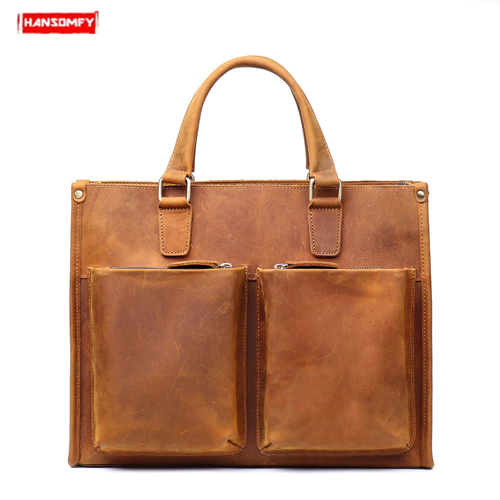 New Men Handbags Crazy Horse Leather Male Shoulder Messenger Laptop Bag Large Capacity Crossbody Bags Genuine Leather Briefcase