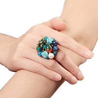 2017 new vintage Charm finger big Adjustable rings for women Wedding Jewelry Birthday Nature Stone Fashion Gifts Trendy Party