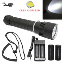 Brightness CREE XHP50 2800LM LED Diving Flashlight Underwater Waterproof 100M Stepless Dimming Tactical Torch 26650 Battery