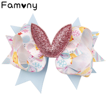 Cute Easter Day Hair Bows Rabbit Egg Print Clips Glitter Ear Two layer Hairgrips Handmade Festival Accessories